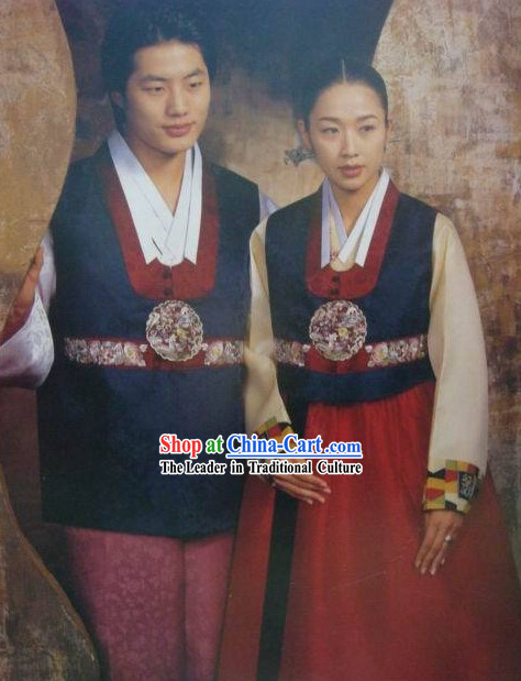 Korean 100_ Handmade Korean Hanbok for Couple-Blue Lovers
