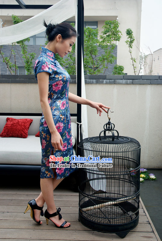 Elegant Chinese Traditional Mandarin Cotton Cheongsam - Blue Stripe