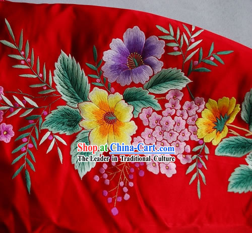 Supreme Chinese Traditional Hand Embroidered Grape Tree Long Cheongsam (Qipao)