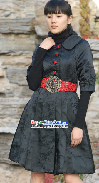 Chinese Classical Mandarin Handmade Long Outercoat for Women