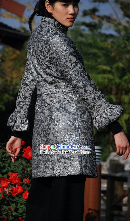 Chinese Mandarin Cotton and Flax Flowery Outercoat
