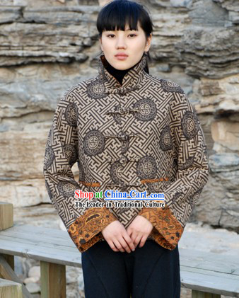 Chinese Traditional Mandarin Ancient Style Cotton Overcoat for Women