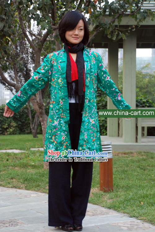 Chinese Stunning Handmade and Embroidered Floral Green Dress for Women