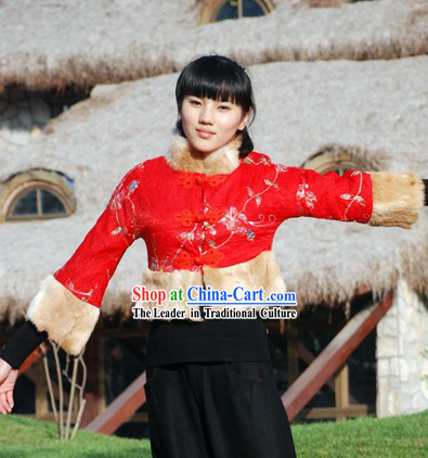 Chinese Classical Lucky Red Rabit Fur Flowery Short Blouse