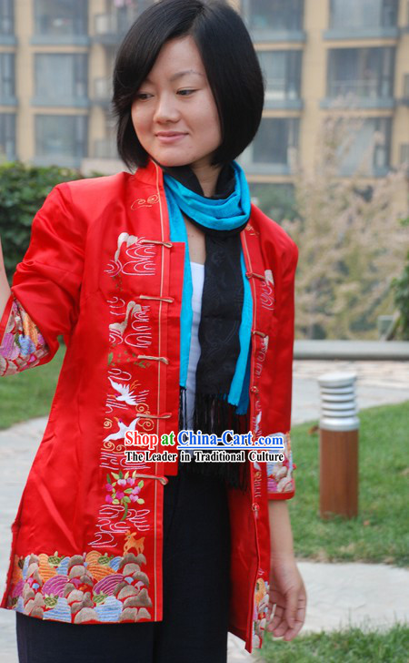 Chinese Classical Lucky Red Handmade and Embroidered Cranes Silk Blouse for Women