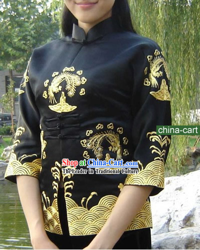 Chinese Classical Gold Handmade and Embroidered Cranes Silk Blouse for Women