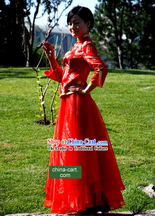 Chinese Classical Lucky Red Handmade Wedding Dress for Women