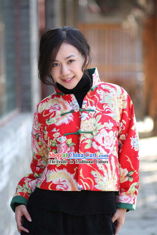 Chinese Classical Lucky Red Handmade Peony Jacket for Women