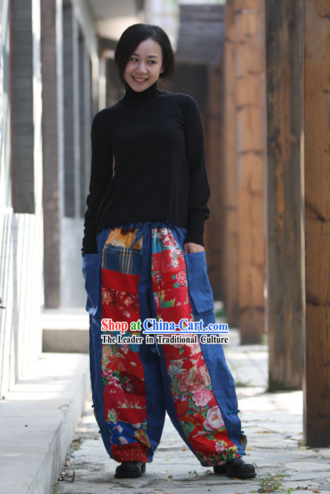 Chinese Classical Handmade Folk Cotton Trousers for Women