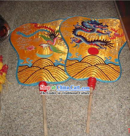 Chinese Traditional Handmade Palace Day and Night Fans Pair