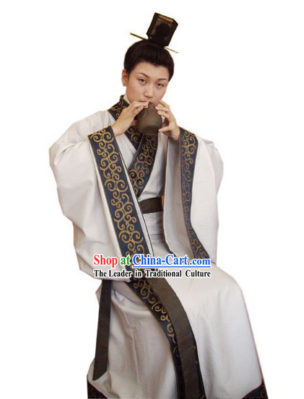 Chinese Traditional Ancient Han Dynasty Clothing and Han Hat Set