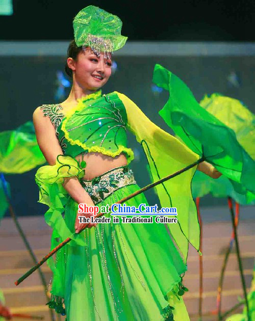 Traditional Chinese Lotus Dance Costume Complete Set