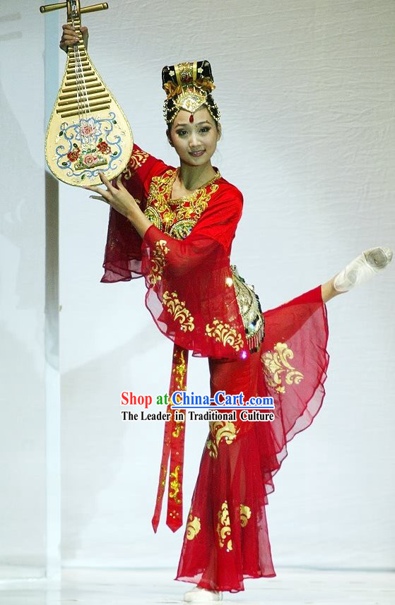 Chinese Classic Tang Dynasty Ancient Palace Dance Costumes Complete Set for Women