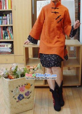 Supreme Chinese Traditional Long Orange Cotton Outercoat for Women