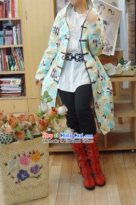 Supreme Chinese Long Yellow Handmade Flowery Cotton Jacket