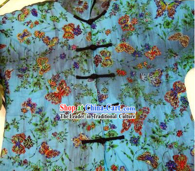 Supreme Chinese Blue Batik Pearls Butterfly Winter Cotton Blouse