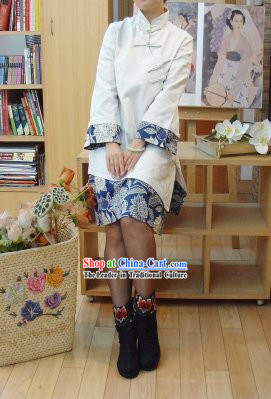 Supreme Chinese Classic Handmade Flower Long Cotton Blouse