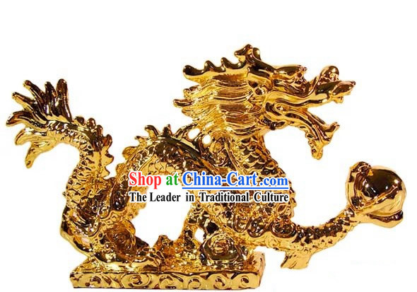 Kai Guang Golding Feng Shui Dragon (gathering treasures and luck)