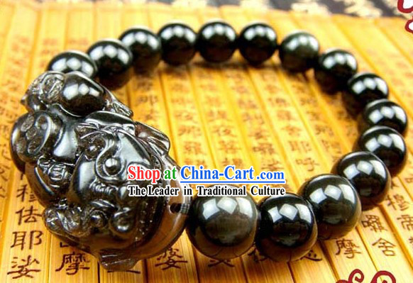 Kai Guang Feng Shui Chinese Obsidian Pi Xiu Bracelet for Men (getting off evil)