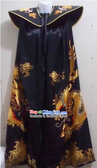 Chinese Ancient Emperor Embroidered Dragon Long Cape