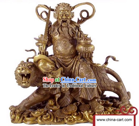 Chinese Traditional Feng Shui Cai Shen Riding on Tiger Brass Statue