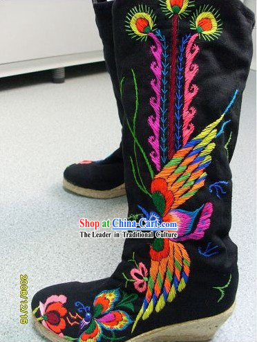Chinese Classic Handmade and Embroidered Phoenix Long Boots
