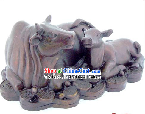 Chinese Classic Kai Guang Money Mother and Baby Brass Cow (increase your good luck)