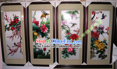 Supreme Chinese Hands Embroidery Handicraft Collectible - Four Seasons _four pieces set_