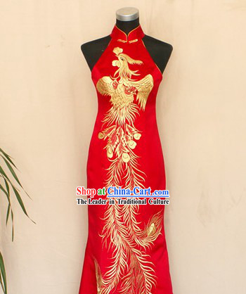 Chinese Traditional Lucky Red Phoenix Cheongsam