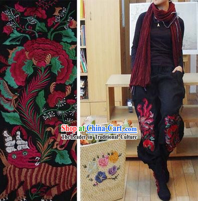 Supreme Chinese Traditional Warm Kylin Cotton and Flax Trousers for Women