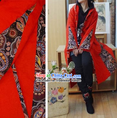 Supreme Chinese Traditional Warm Ruler's Seal Pattern Long Outercoat for Women