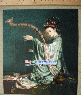 Supreme Chinese All Hand Embroidery Handicraft - Harp Fairy