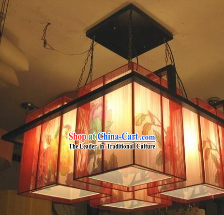 Stunning Chinese Large Peony Parchment Ceiling Lantern