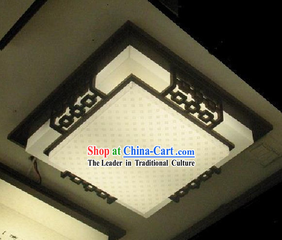 Chinese Classical Hand Made Parchment and Wood Ceiling Lantern