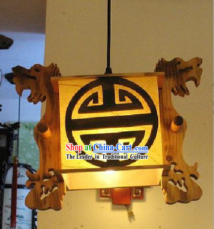Chinese Traditional Hand Carved Double Dragons Parchment Ceiling Lantern