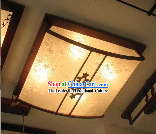 Chinese Traditional Flowery Hand Made Parchment and Wood Ceiling Lantern