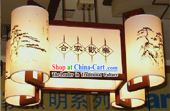 Traditional Book Volume Style Wood Palace Ceiling Lantern - He Jia Huan Le