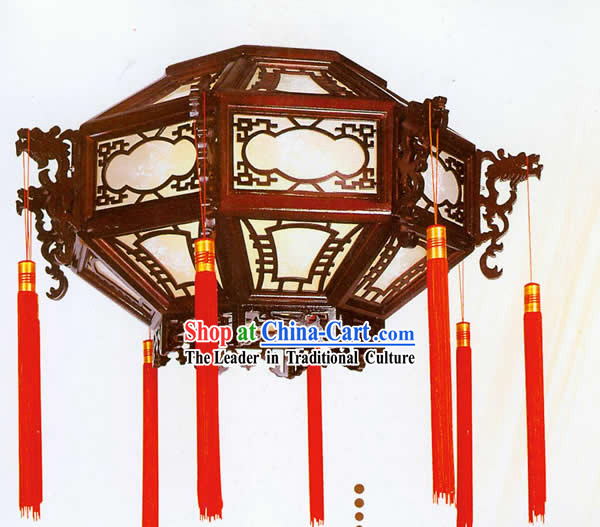 Chinese Hand Made Plain Sheepskin Wooden Ceiling Lantern