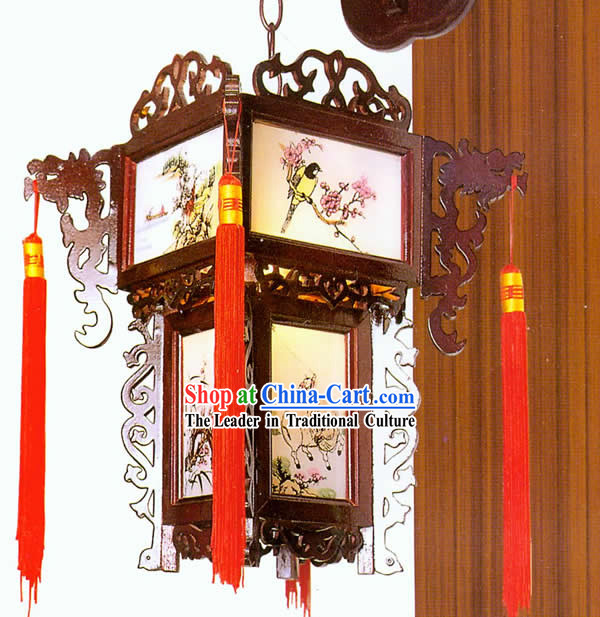 Chinese Handmade Carved Wooden Dragon Wall Lantern