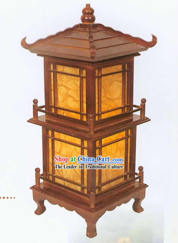 Chinese Hand Carved Two Layers Tower Shape Reading Lantern