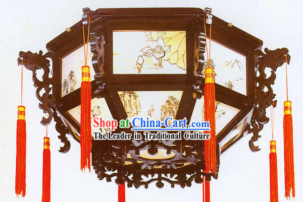 (On Sale) Chinese Hand Carved Double Dragons Palace Ceiling Lantern