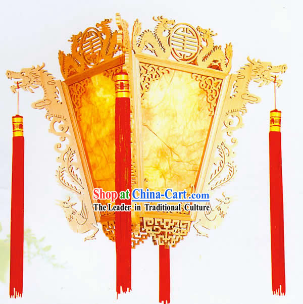 Chinese Classical Natural Double Dragons Palace Ceiling Lantern