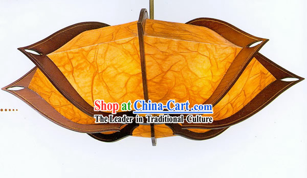 Chinese Traditional Hand Made Flower Shape Sheepskin Wooden Ceiling Lantern