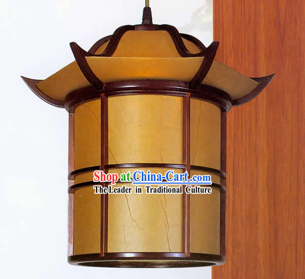 Chinese Traditional Hand Made Tower Shape Sheepskin Wooden Ceiling Lantern