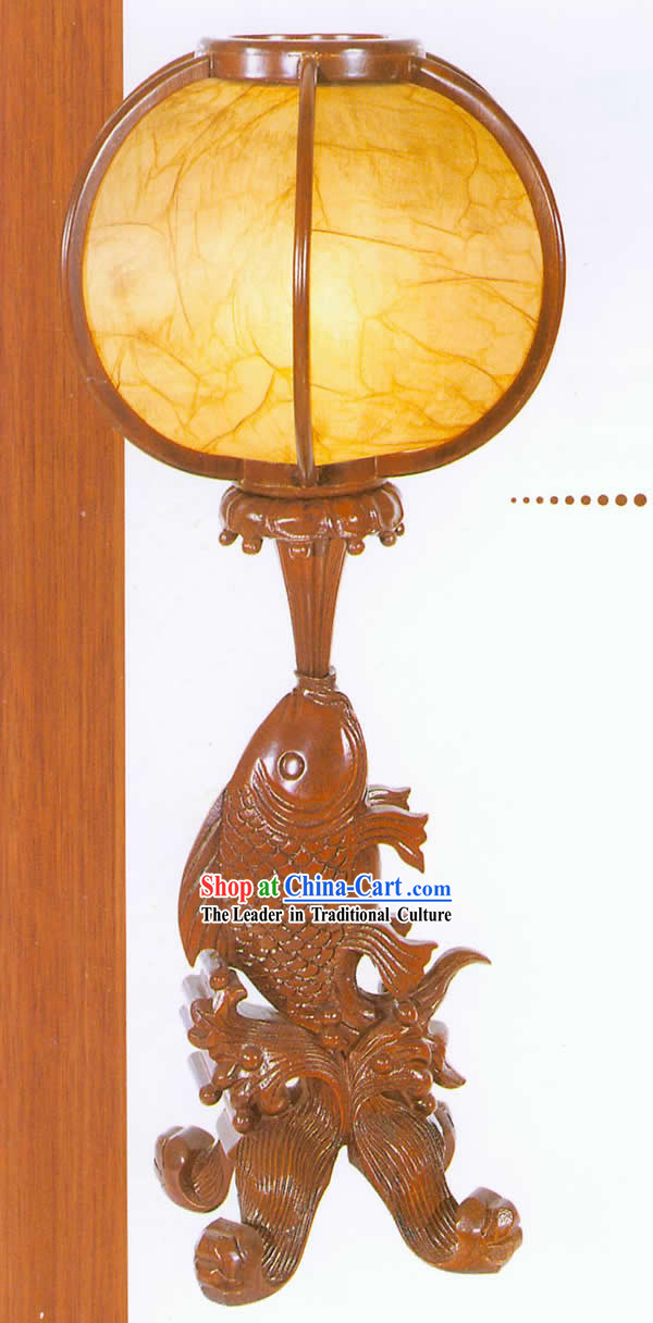 26 Inches Height Marvellous Chinese Hand Carved Wooden Fish Lantern