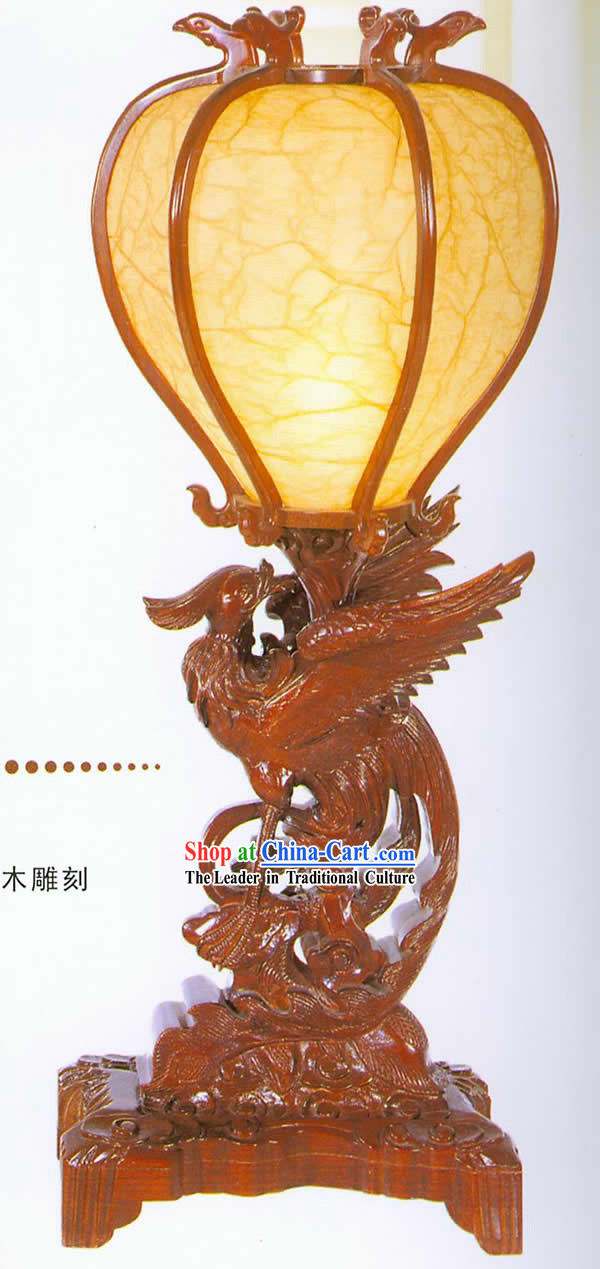 30 Inches Height Marvellous Chinese Hand Carved Wooden Phoenix Guest Room Lantern