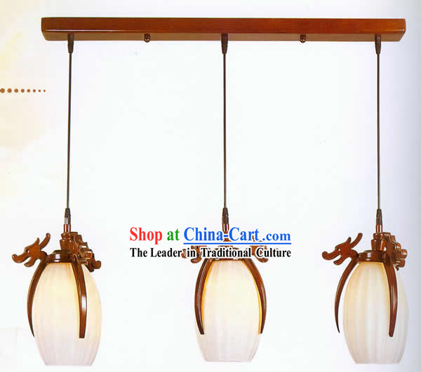 Chinese Traditional Hand Carved Three Dragons Wooden Hanging Lantern