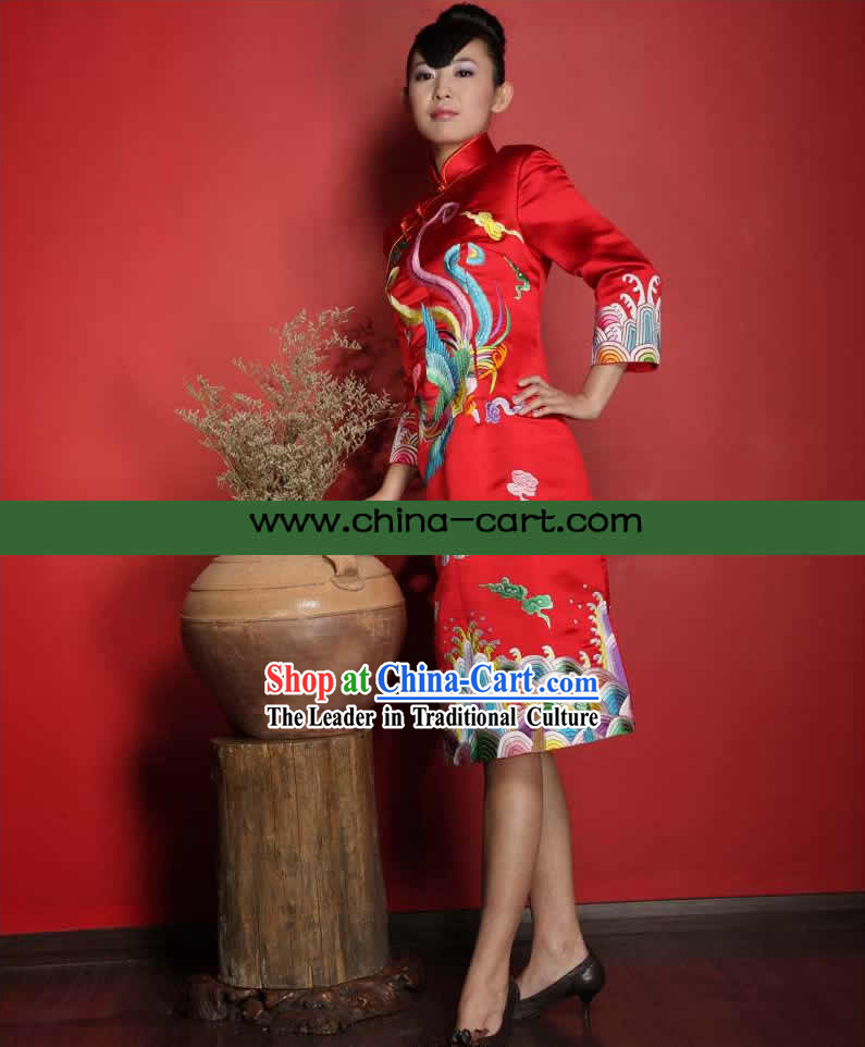 Stunning All Hand Embroidery Phoenix Red Silk Cheongsam _Qipao_