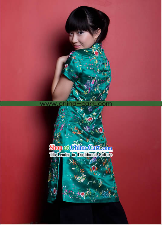 Traditional Chinese Stunning Hand Embroidered Flower Garment _green_