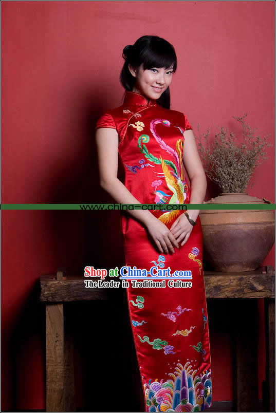 Stunning All Hand Embroidery Phoenix Red Silk Long Cheongsam (Qipao)